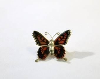 Cute Older Orange and Black on Gold Butterfly Pin
