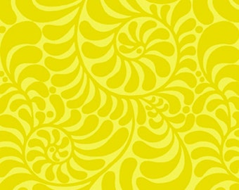 16 x 57 LAMINATED cotton fabric (similar to oilcloth) remnant - Early Birds Curlicue Lemon yellow - BPA free - Approved for children
