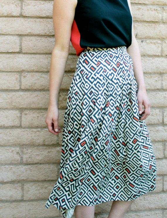 Eighties Maxi Skirt- 80s Black and Coral Silk Skirt with Geometric Maze Pattern