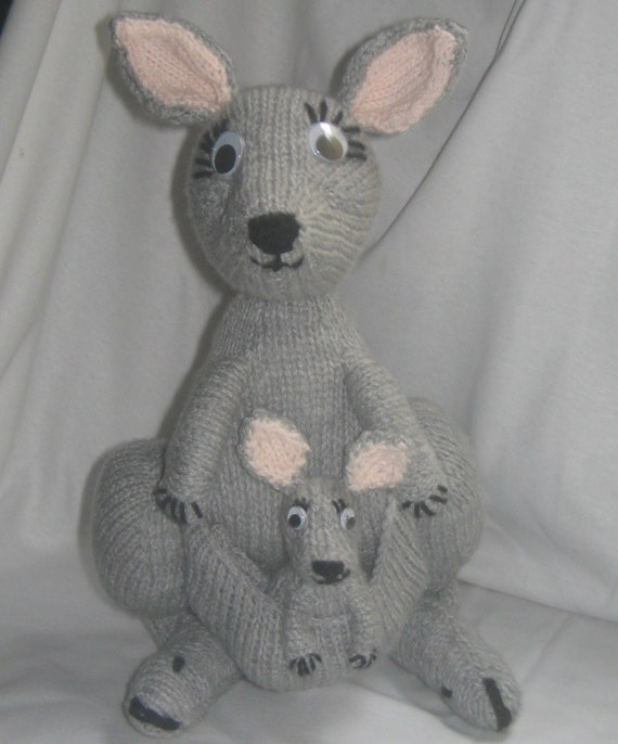 Kangaroo Pouch Knitting Pattern : Toy Kangaroo & Joey: KNITTING PATTERN downloadable by RianAnderson