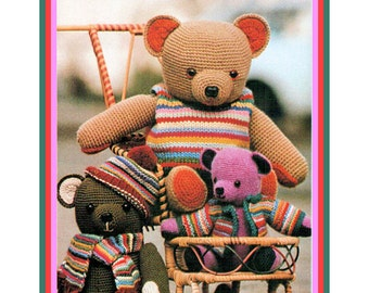 Instant Download PDF Soft Toy Crochet Pattern to make a Cuddly Kitsch Dressed Teddy Bear Three Bears in Knitted Clothes in 3 size options