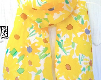 Hand Painted Silk Scarf, Summer Floral Scarf, Yellow Sunny Flower Meadow, Pastel Fashion. Yellow Silk Scarf. 11x60 inches, Made to Order.