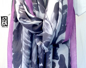 Hand Painted Silk Shawl scarf, Large Silk Shawl, Black and White Floral Scarf, Japanese Scarf, 35x84 inches. 100% Silk.