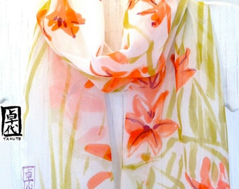 Silk Scarf Hand Painted Red and Orange Freesia Floral Scarf. Red Silk Scarf. Spring Fashion. Silk Chiffon Scarf. 10x56 in. Made to order.