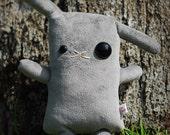 "Zombie Bunny stuffed animal, Rabbit plush, cute bunny toy, rabbit doll, kawaii plushie usagi lapin, kids room decor, gift 12"" Gray Halloween"