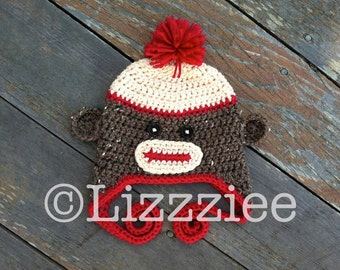 Pattern Sock Monkey Hat Crochet PDF - instructions for beanie, earflap, braids - Newborn, baby, Kids, Teen Adult - Instant Digital Download