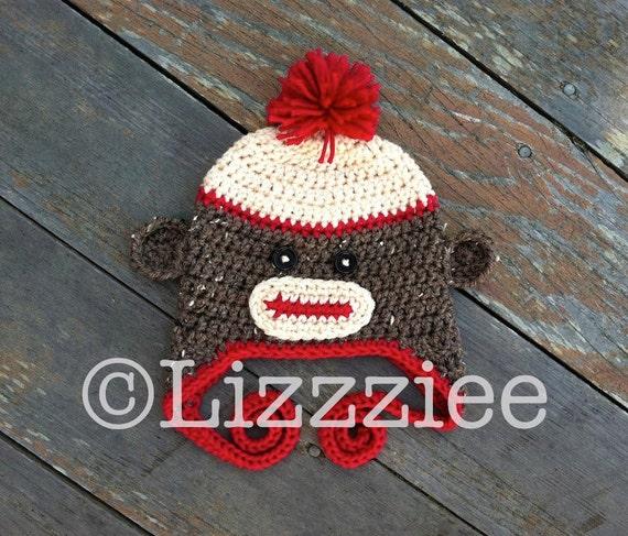 Pattern Sock Monkey Hat Crochet PDF - instructions for beanie, earflap, braids - Newborn, baby, Kids, Teen Adult - Instant Digital Download