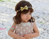 10% off entire order,Baby girl Headbands, toddler headband, baby headband, newborn headband...Gold Glitter Bow