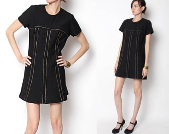 Vintage 60s Black Mod Dress Gold Stitching / M