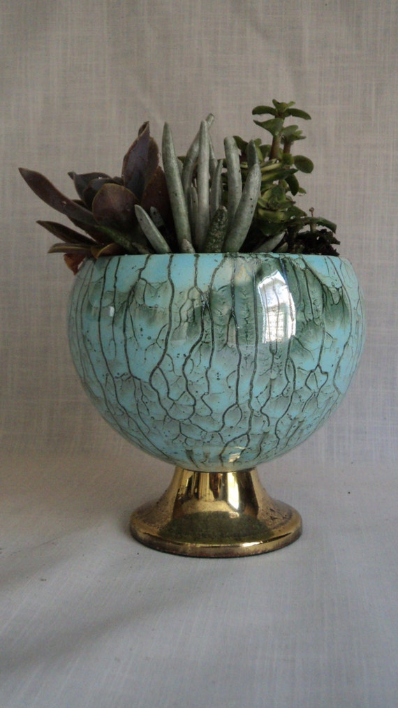 50percent off sale ceramic planter turquoise and and drip glazed brass