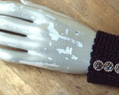 Cuff Bracelet crochet fiber textile black noir antique buttons hipster goth elegant Rumi quote Anthropologie style notorious fearless brave
