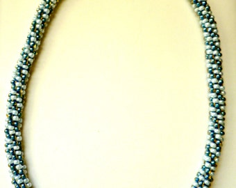 "Beaded Kumihimo necklace - ""Blue Skies"""