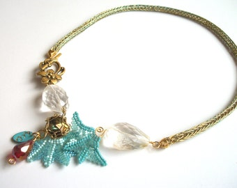 Personalizeable Necklace - Asymmetrical Viking Knit, Beadwoven, Citrine Gemstone , Turquoise Blue, Red & Swarovski Crystal