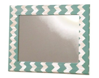 Seafoam chevron mirror, teal and cream wall mirror, bathroom mirror, hanging mirror, home mirror, large mirror, painted mirror, decor mirror