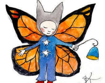 Monarch Child Print . Butterfly Fairy Art . Star Buttons . Animal Hat . Lantern and Red Boots