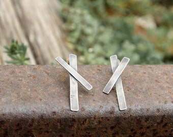Edgy Cross Earrings-Sterling Silver Asymmetric Cross Earrings- Edgy Earrings-Rock Chic Jewellery-Under 50