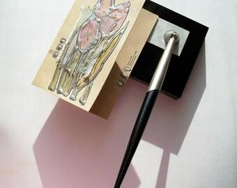 Handmade blank greeting card - Pale pink tulips - pastel pink flowers - OOAK