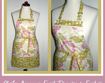 "Chefs Apron  ""Amy Butler Fuchsia Fresh Poppies fabric"" classic chef's apron, retro hostess apron - ready-to-ship"