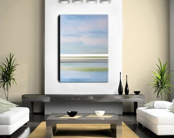 Abstract Art - Large 48x36 - Abstract Painting, Light Blue Painting, Blue and Green Art, Baby Blue Original Abstract Art