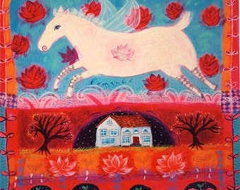 Romance White Horse art print - limited edition giclee on paper - love horse/whimsical art/happy art