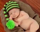 Green and Brown Stripe Long Tail Hat Newborn Photo Prop Stocking Hat Elf Cap