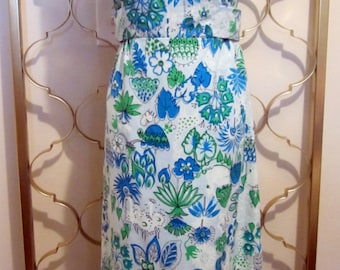 Vintage 1960s Maxi Dress Formal Mod Jungle Animal Graphics Empire Waist