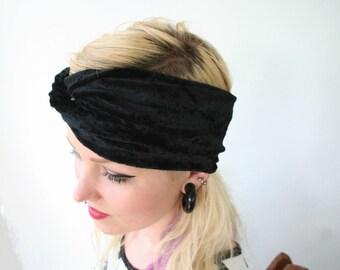 Black velvet headband, stretch crushed velvet turban twist headband