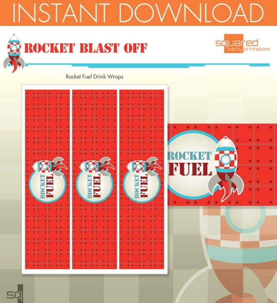 Rocket Ship Spaceship Birthday Party Printables - Bottle Wraps, Drink Wraps - DIY Print - Blast Off - Instant Download