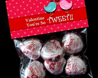 INSTANT DOWNLOAD - Printable Valentine Treat Bag Toppers  -  Valentine's Day - TWEET Birdies