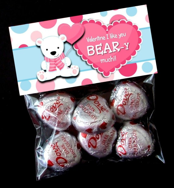 INSTANT DOWNLOAD - Printable Valentine Treat Bag Toppers  -  Valentine's Day - Bear