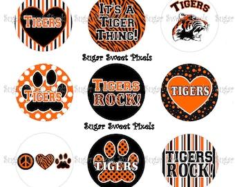 INSTANT DOWNLOAD Orange Black Tigers School Mascot 1 inch Circle Bottlecap Images 4x6 sheet