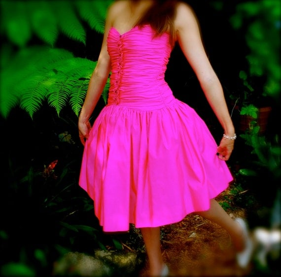 RESERVED Vintage 80s Victor Costa Bonwit Teller HOT Pink Strapless Prom Pouf Cocktail Dress XS