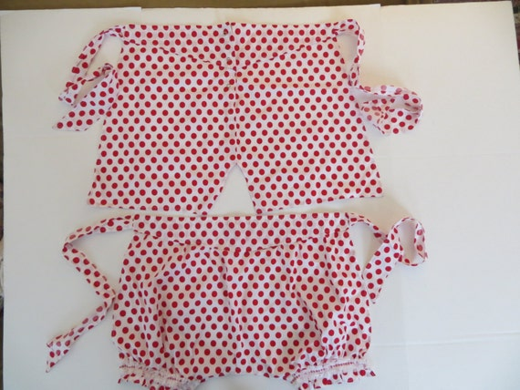 Set of 2 Vintage Red and White Polka Dotted Aprons. His and Hers Underwear. Valentines Day and Beyond. Retro Rockabilly Unused New Old Stock
