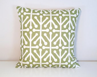 CLEARANCE Green Throw Pillow Cover. 18 x 18 Inches. Green Aruba Decorative Pillow Slipcover.