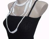 White Cord Necklace Bracelet, Crochet Jewelry, Girl, Teen, Woman, Crazy