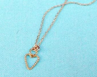Heart Necklace - Heart Jewelry - Flower Girl Jewelry  - Gold Jewellery - Children - Valentine - Chain - Dainty