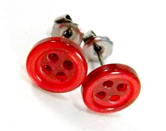 Cherry Red Earrings  9mm Pearlized Garnet Buttons on Titanium Stud Earring Pair  Hypoallergenic Minimalist Jewelry