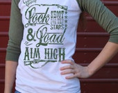 Lock and Load Baseball green Tee hunting rifle Organic Ink Free Shipping
