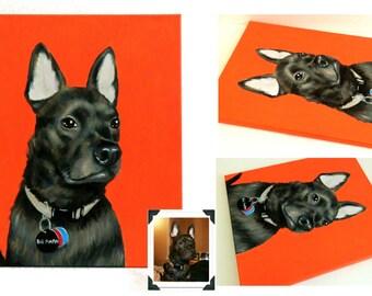 "16x20"" Custom Dog Portrait, 1 Pet Close-Up Solid background Original Acrylic Painting Memorial"