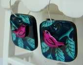 The Pink Bird and the Blue Leaves - Handmade painted three dimensional whimsical earrings
