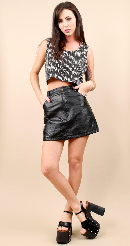 80s 90s vtg club kid leather grunge micro mini skirt by nanometer