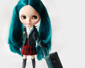 Miss yo school uniform jacket for Blythe doll - doll outfit - Green Checker
