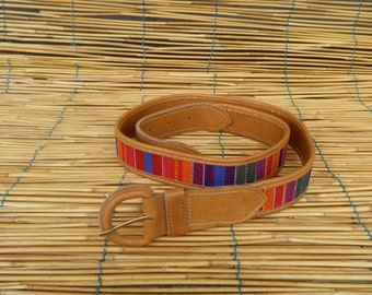 "Vintage Lady's Tan Faux Leather Rainbow Textile Belt Fits from 33"" to 36"" Waist"