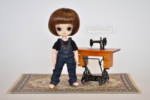 Denim jeans dungarees for: 11cm Obitsu size dolls