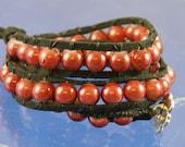 "Bracelet 2x wrap Cranberry Wonder Beads Soft Leather 16"""