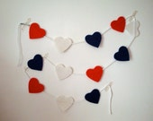 Love Heart Bunting // Red White Blue // 12 Flag Felt Garland // Original Design // Ready to ship