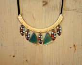 Vintage Hand made Necklace Gold Teal Green White Red Polca Dots Leather Tribal Boho