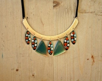 Necklace, Vintage Necklace, Gypsy Necklace, Gold Teal Green White Red Polca Dots Leather Tribal Boho