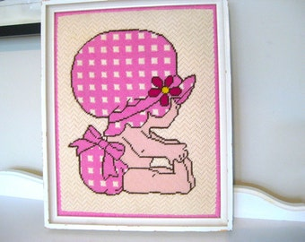 """Vintage Tapestry - Baby Pink Bonnet - 12""""W x 14""""L - 1970's - Retro Needlepoint Tapestry - Embroidery"""
