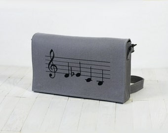 Shostakovich Music Lover Clutch (DSCH) Grey Felt Messenge Bag Women Fashion Purse